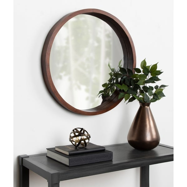 """Kate and Laurel Hutton Round Wood Wall Mirror - 22"""" diameter. Opens flyout."""