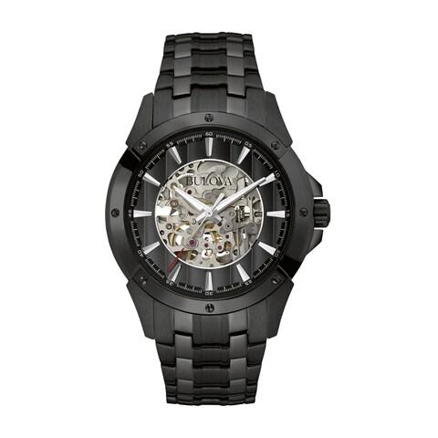 Bulova Men's 98A147 Automatic Skeleton Dial Black Bracelet Watch
