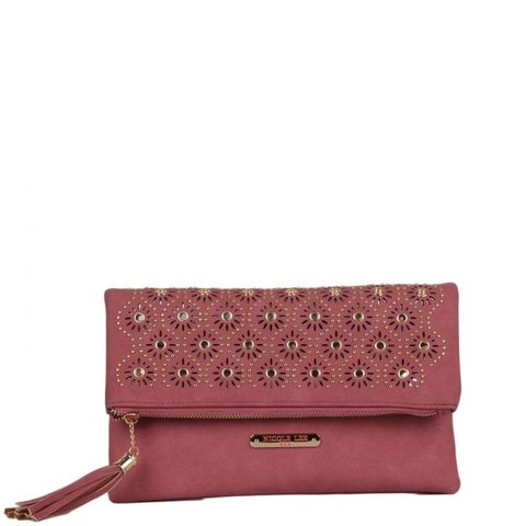 Nicole Lee Floral Eyelet Fold-Over Clutch