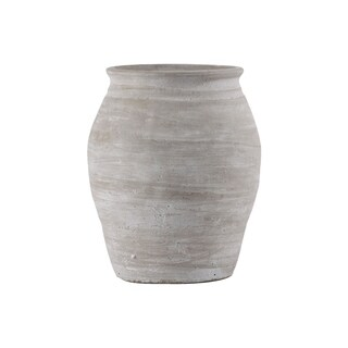 Cement Round Bellied Vase with Jagged Lip and Tapered Bottom LG Washed Finish Gray