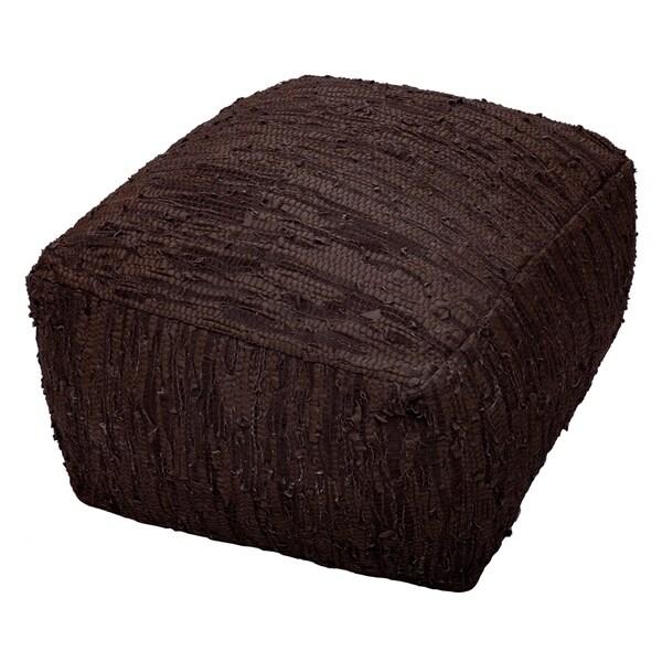 Shop Matador Brown Leather Pouf 19x30 On Sale Free Shipping