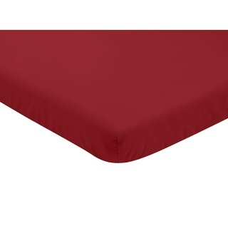 Sweet Jojo Designs Solid Red Baseball Patch Sports Collection Fitted Mini Portable Crib Sheet