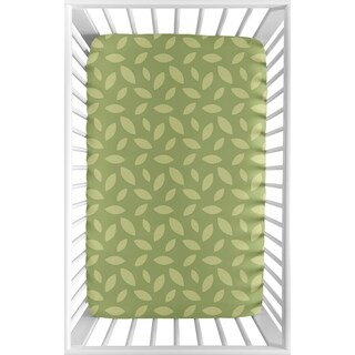 Sweet Jojo Designs Green Leaf Jungle Time Collection Fitted Mini Portable Crib Sheet