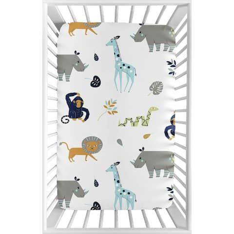 Sweet Jojo Designs Turquiose and Navy Blue Safari Animal Mod Jungle Collection Fitted Mini Portable Crib Sheet