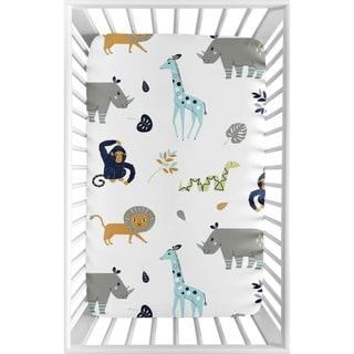 Sweet Jojo Designs Turquiose and Navy Blue Safari Animal Mod Jungle Collection Fitted Mini Portable Crib Sheet