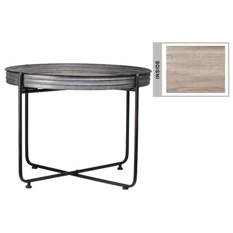 UTC37153: Metal Round Low Table with Brunette Rim Edges, Wooden Surface and Detachable Metal Stand Galvanized Finish Gray
