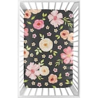 Sweet Jojo Designs Black and Blush Pink Shabby Chic Watercolor Floral Collection Fitted Mini Portable Crib Sheet Rose