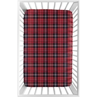 Sweet Jojo Designs Red and Black Woodland Plaid Flannel Rustic Patch Collection Fitted Mini Portable Crib Sheet