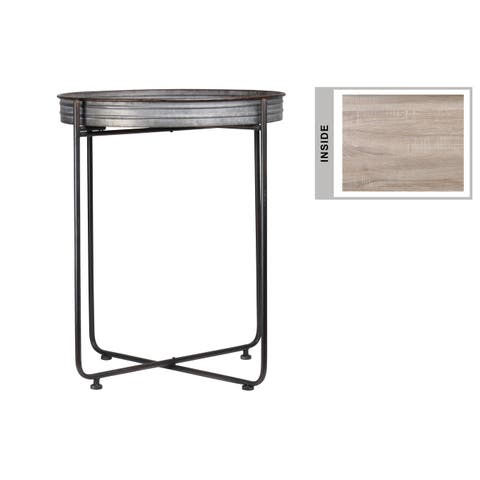 UTC37154: Metal Round Table with Brunette Rim Edges, Wooden Surface and Detachable Metal Stand Galvanized Finish Gray