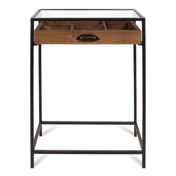 Shop Kate And Laurel Mcconnell Glass Top Display End Table On