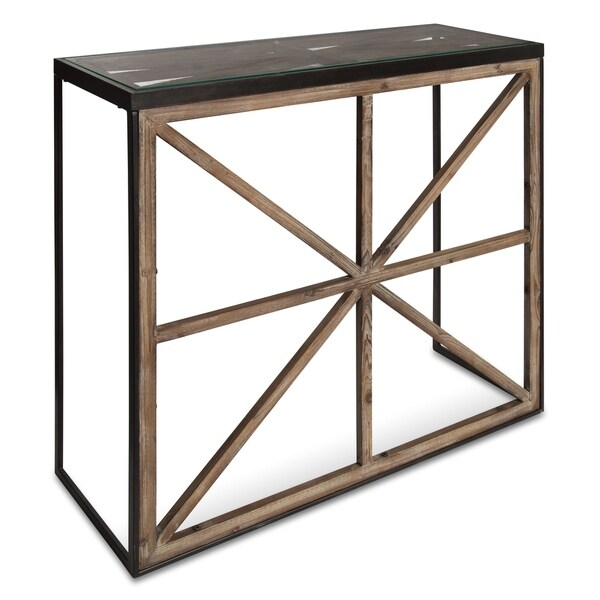 Kate and Laurel Mace Console Table with Glass Top