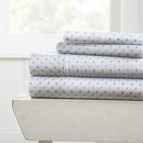 Merit Linens Premium Ultra Soft Lily Pattern 4 Piece Bed Sheet Set