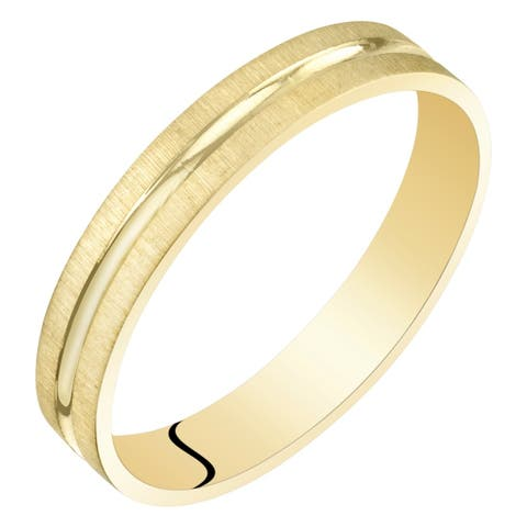 Womens 14 Karat Yellow Gold 3mm Wedding Ring Band Dual Finish