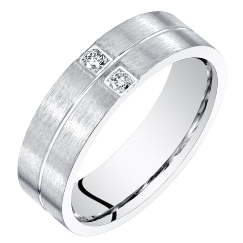 Mens Genuine Diamond Wedding Ring Band Sterling Silver Comfort Fit 6mm Sizes 8 to 14