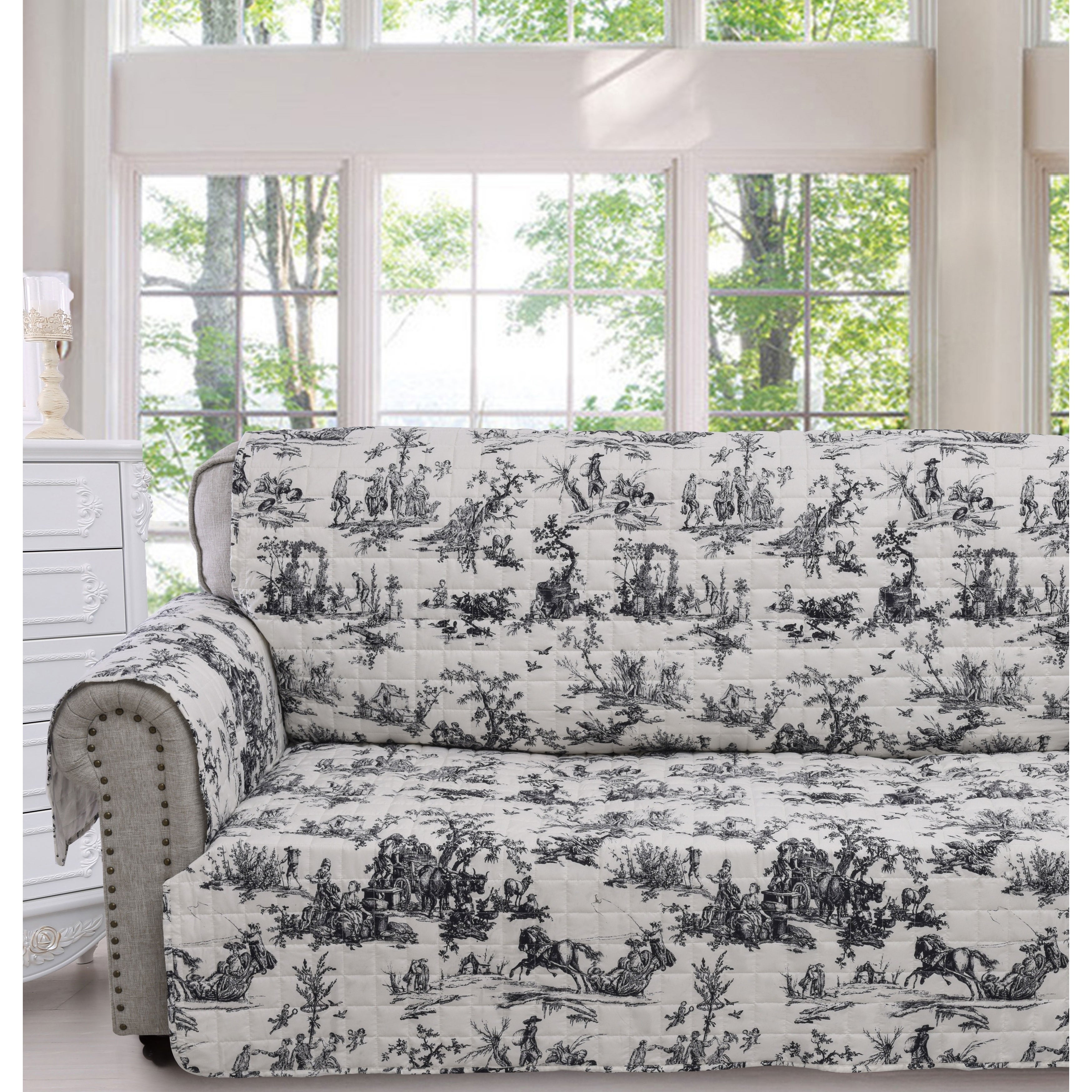 Pleasing Greenland Home Classic Toile Black Sofa Protector Caraccident5 Cool Chair Designs And Ideas Caraccident5Info