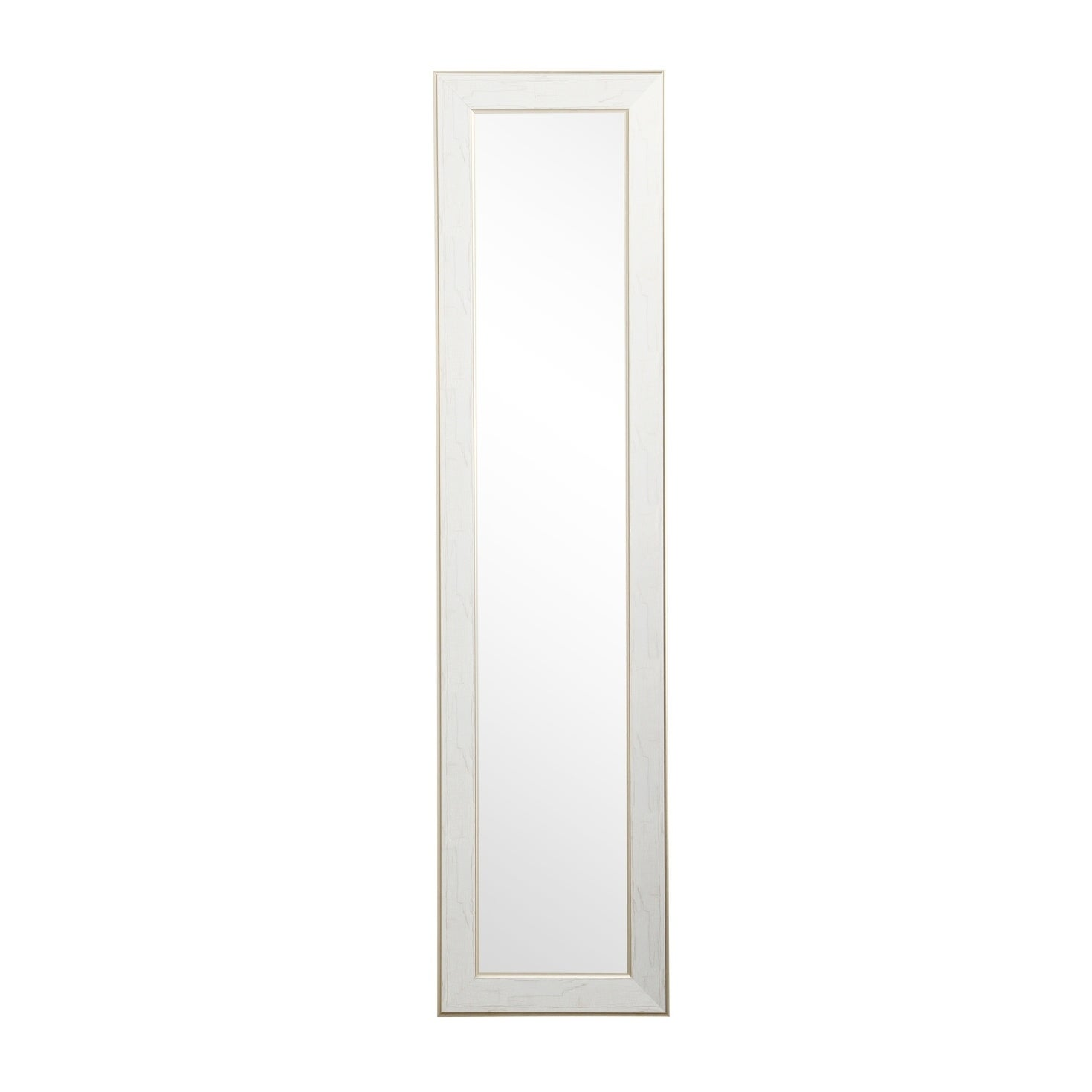 Gold Trimmed Legacy Slim Floor Mirror White Cracked Gold On Sale Overstock 23050394