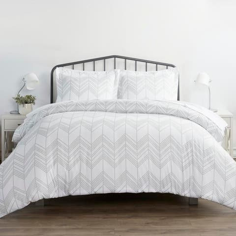 Merit Linens Premium Ultra Soft Alps Chevron Pattern 3 Piece Duvet Cover Set