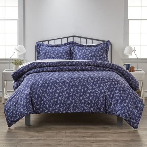 Merit Linens Premium Ultra Soft Midnight Blossoms Pattern 3 Piece Duvet Cover Set