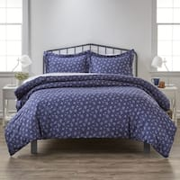 Merit Linens Premium Ultra Soft Midnight Blossoms Pattern 3 Piece Duvet Cover Set