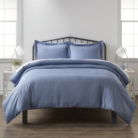 Merit Linens Premium Ultra Soft Blue Diamond Pattern 3 Piece Duvet Cover Set