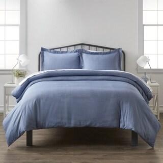 Merit Linens Premium Ultra Soft Blue Diamond Pattern 3 Piece Duvet Cover Set