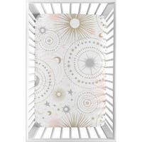 Sweet Jojo Designs Blush Pink, Gold, Grey and White Star and Moon Celestial Collection Fitted Mini Portable Crib Sheet