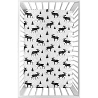 Sweet Jojo Designs Black and White Woodland Moose Rustic Patch Collection Fitted Mini Portable Crib Sheet
