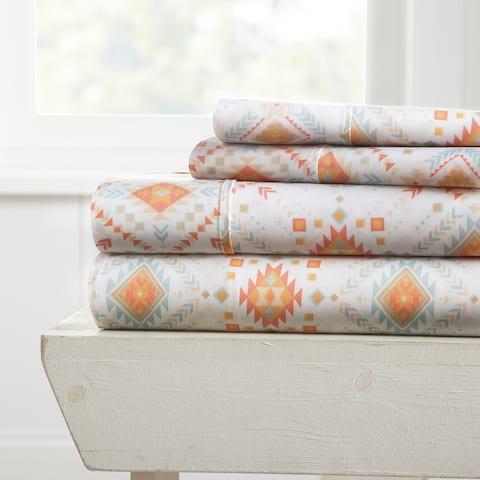 Merit Linens Premium Ultra Soft Aztec Dreams Pattern 4 Piece Bed Sheet Set