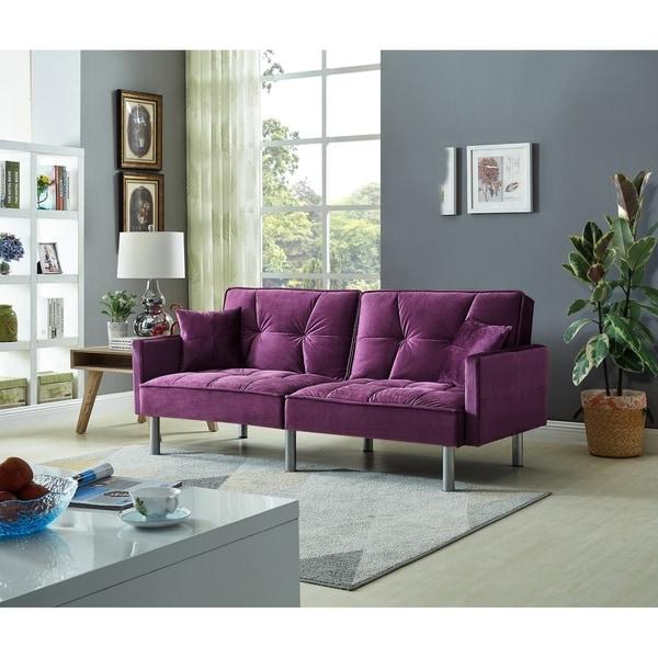 Shop Emma Velvet Mid Century Sofa Sleeper Free Shipping