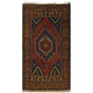 Hand Knotted Anatolian Semi Antique Wool Area Rug - 3' 8 x 7'