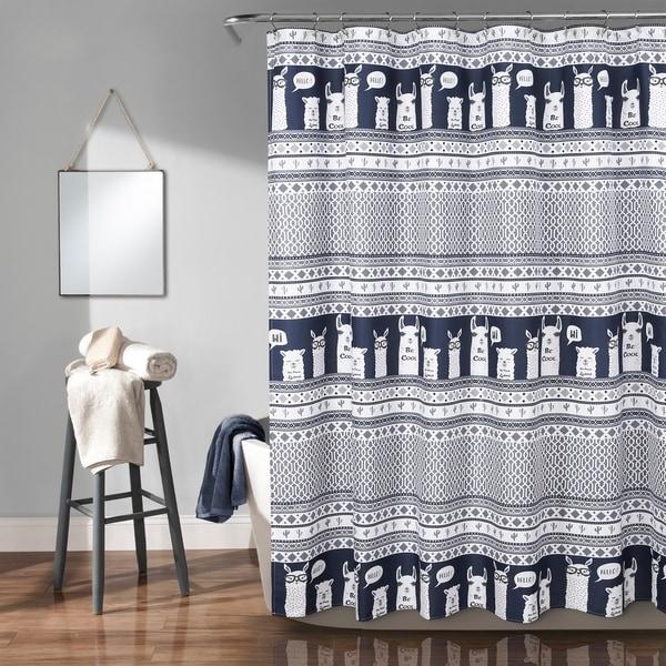 Shop Lush Decor Llama Stripe Shower Curtain Free