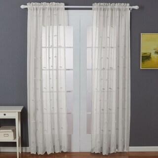 Amrapur Overseas Sheer Textured Bow Curtain Panel Pair - 52x84