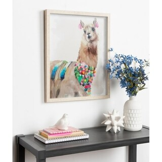 Kate and Laurel Alpaca Watercolor with Pompoms Framed Under Glass