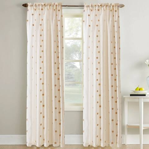 Modern Threads Sheer Textured Metallic Dots Curtain Panel Pair - 52x84