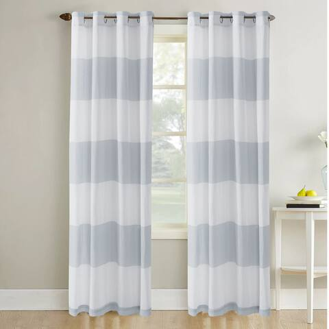 Amrapur Overseas Sheer Textured Cabana Stripe Curtain Panel Pair - 52x84