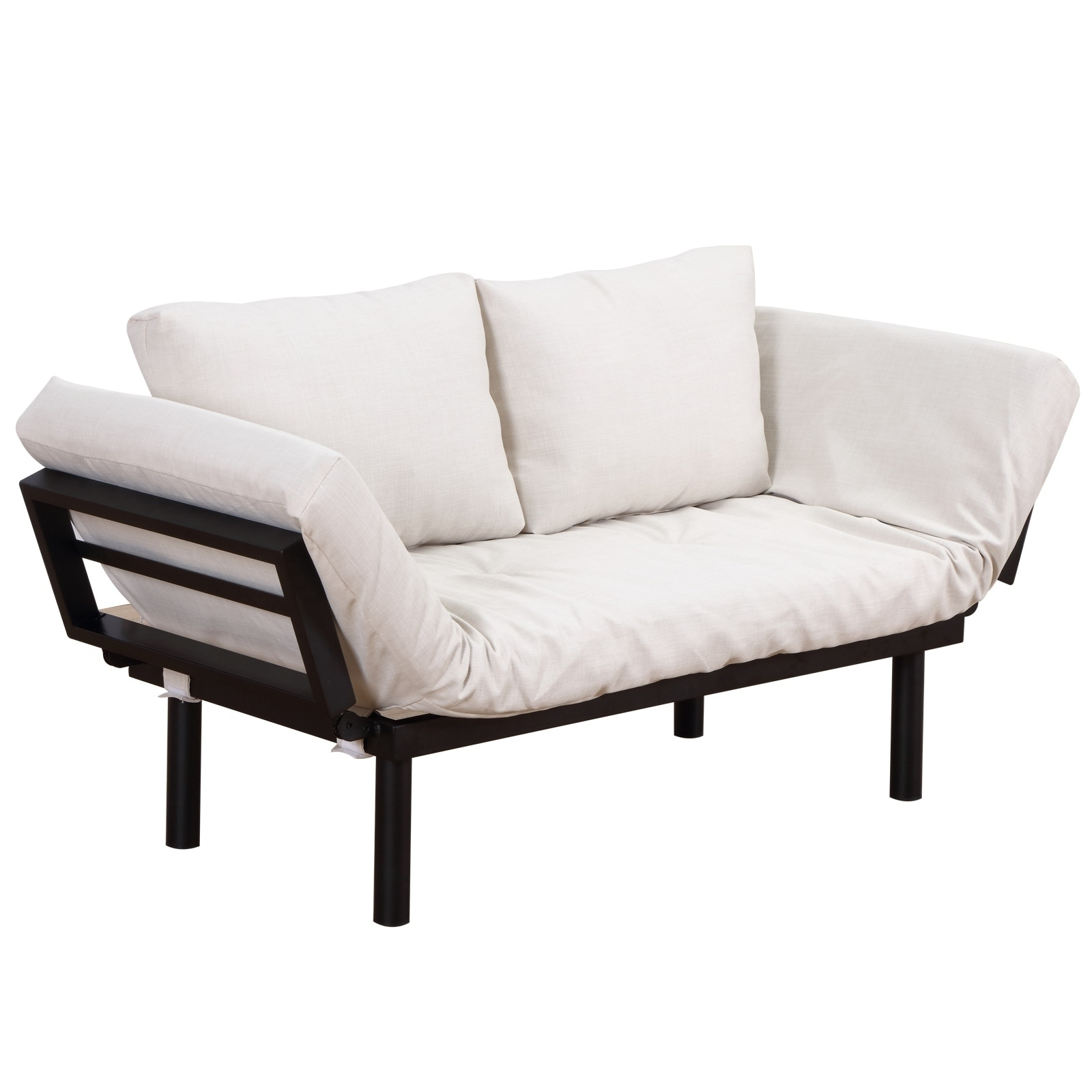 HomCom Single Person 3 Position Convertible Couch Chaise Lounger Sofa Bed -  Black / Cream White