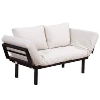 Homcom Single Person 3 Position Convertible Couch Chaise Lounger Sofa Bed Black Cream White