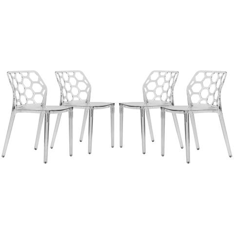 LeisureMod Cove Clear Honeycomb Lucite Dining Side Chair Set of 4
