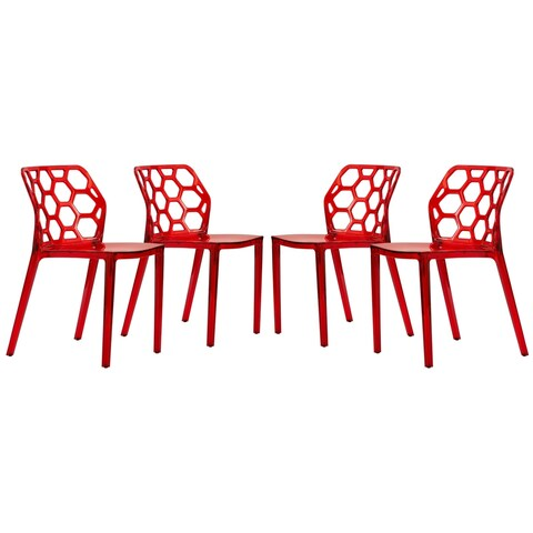 LeisureMod Cove Honeycomb Transparent Red Dining Side Chair Set of 4