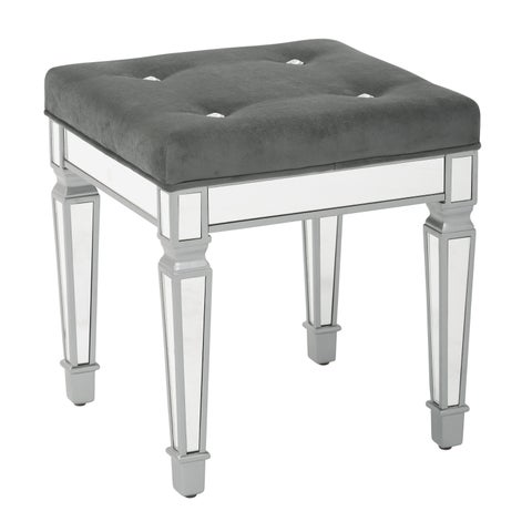 """Ave Six Reflections 18"""" Mirror Finish Frame Stool with Velvet Fabric Top"""
