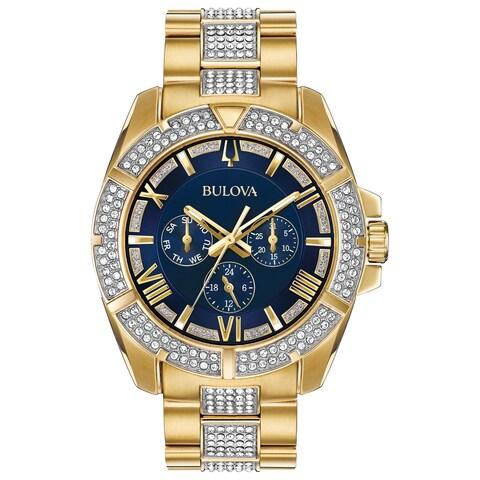 Bulova Men's CrystalAccent Blue Dial Bracelet Watch