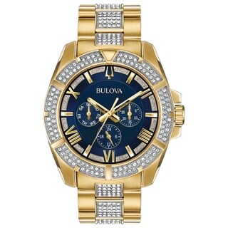 Bulova Men's CrystalAccent Blue Dial Bracelet Watch