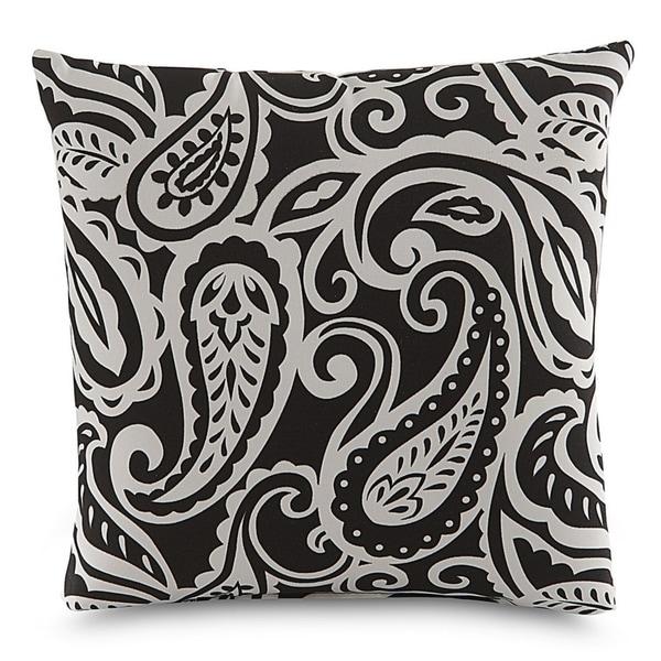 Shop Terrasol Sassafras Black Outdoor Throw Pillow Free Shipping