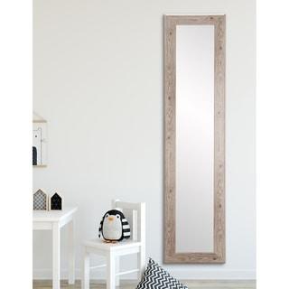 Farmhouse White Slim  Full Length Mirror - white/beige grain