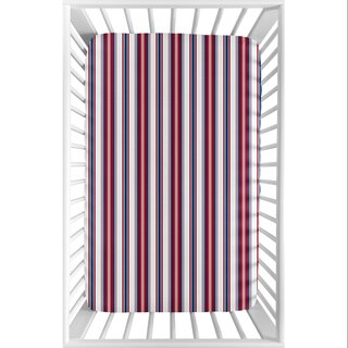 Sweet Jojo Designs Red, White and Blue Stripe Baseball Patch Sports Collection Fitted Mini Portable Crib Sheet