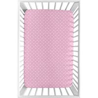 Sweet Jojo Designs Pink and White Polka Dot Skylar Collection Fitted Mini Portable Crib Sheet