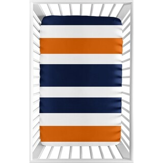Sweet Jojo Designs Navy Blue, Orange, and White Modern Stripe Collection Fitted Mini Portable Crib Sheet