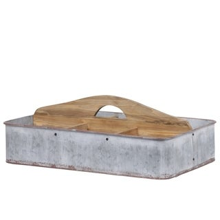 UTC42122: Metal Rectangular Caddy with Wooden Handle and 6 Compartments Galvanized Finish Gray