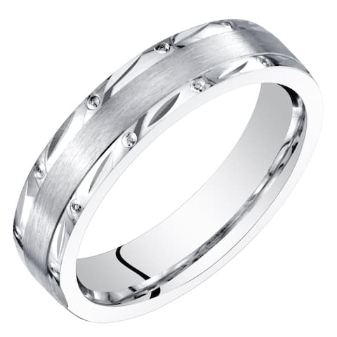 Womens 14 Karat White Gold 4mm Wedding Ring Brushed Matte