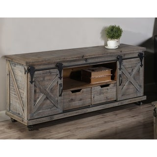 Presley Driftwood Grey 2 Door, 2 Drawer, and Open Center TV Stand